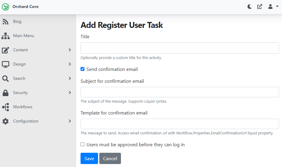 Adding the Register User Task with the approval option
