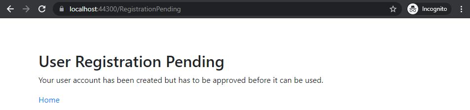 User Registration Pending screen