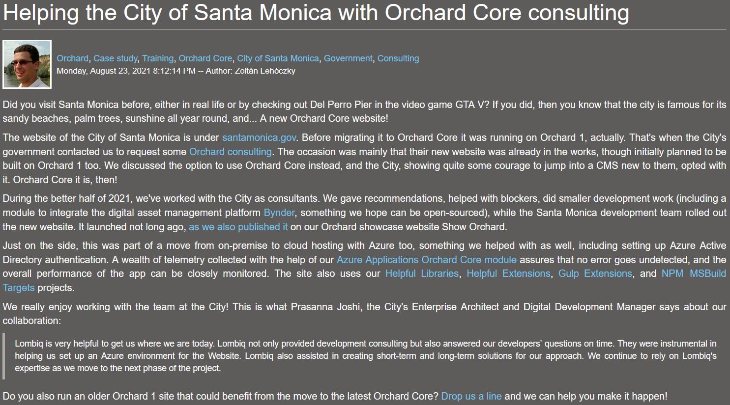 City of Santa Monica Orchard Core case study