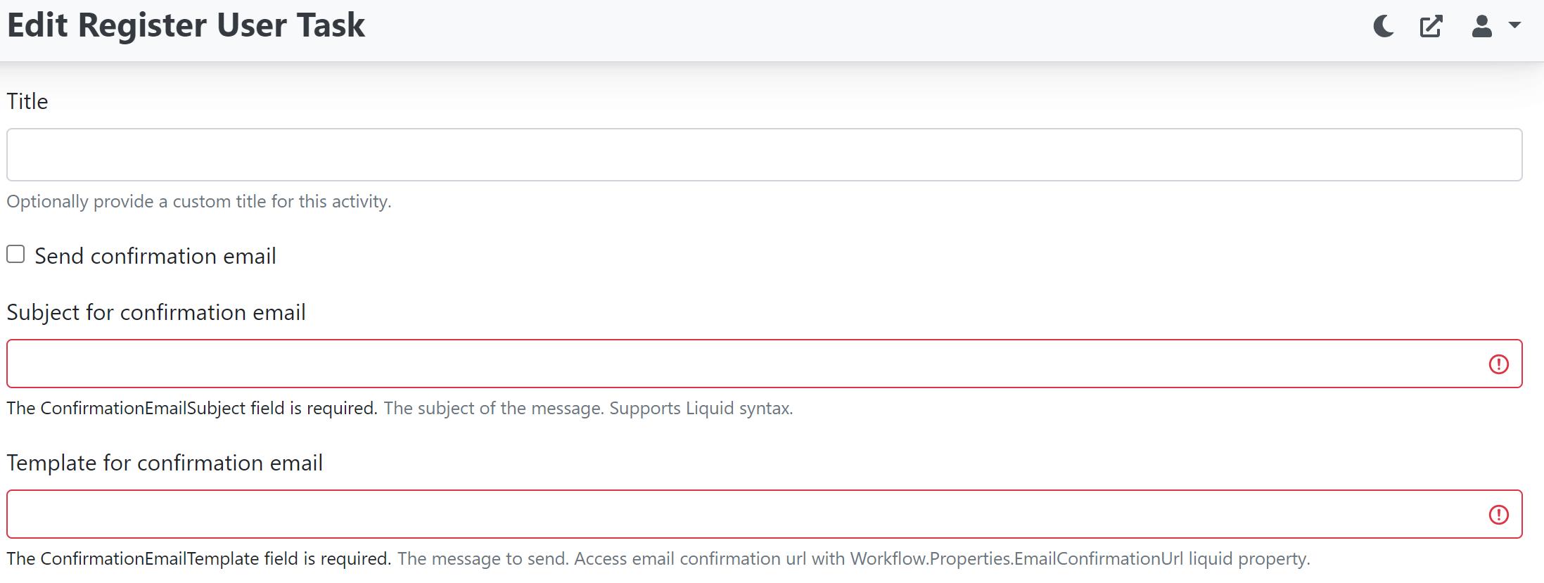 Send confirmation email in Register User Task