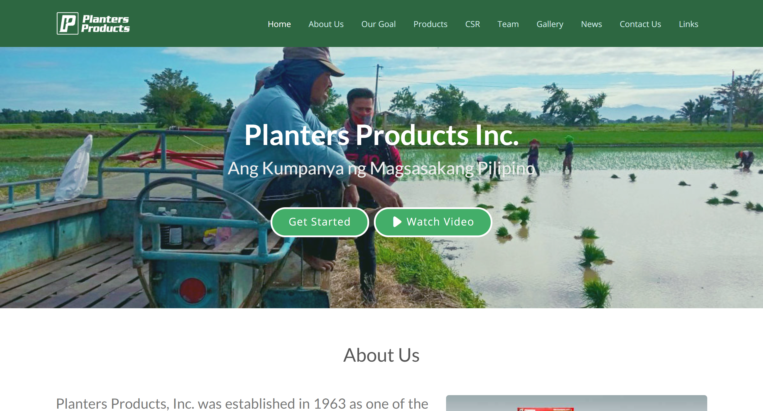Planters Products Inc. website