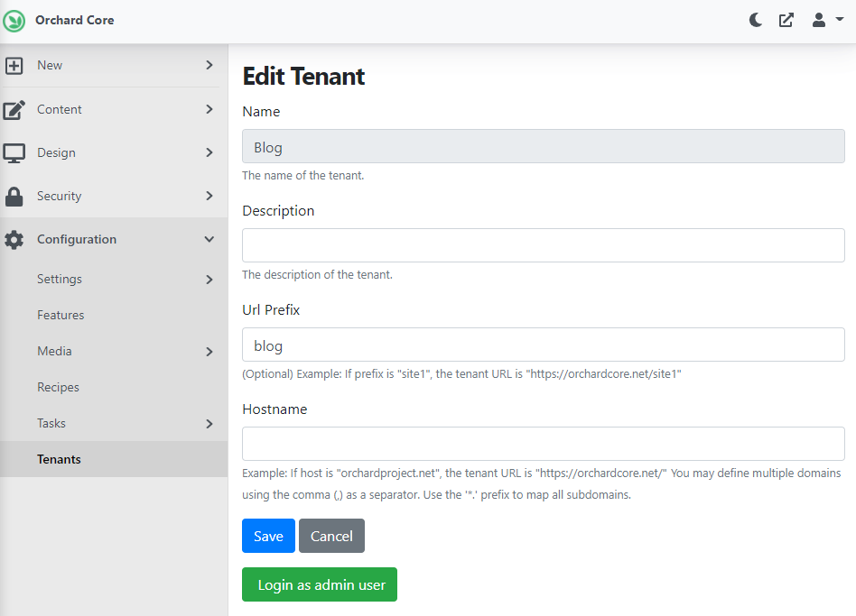 Ability to log in to a tenant as an admin user