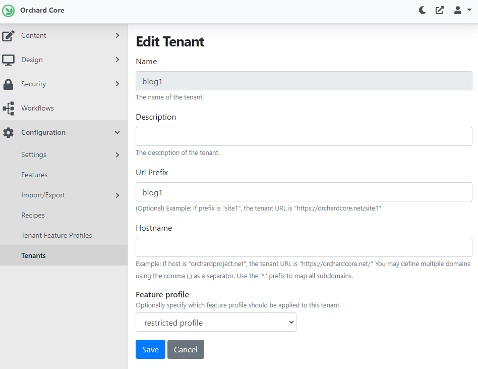 Adding a new tenant with a feature profile