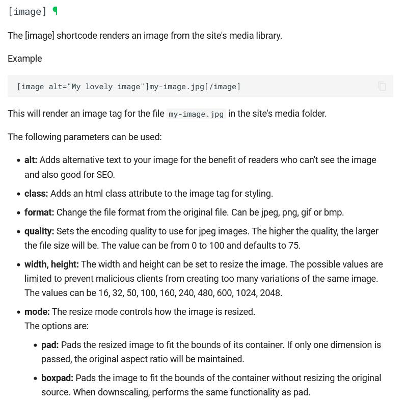 image shortcode documentation