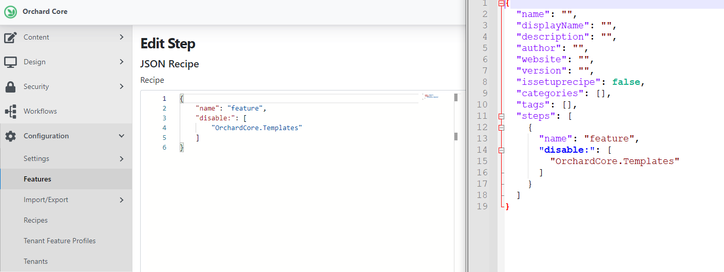 The new JSON Recipe deployment step