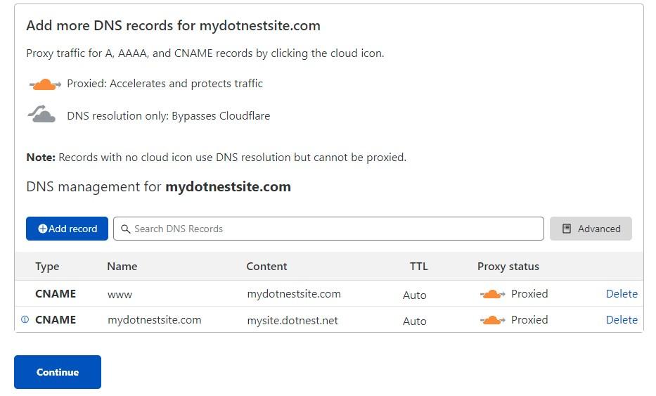DNS setup step on Cloudflare